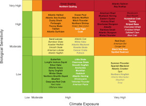 Overall climate vulnerability is denoted by color: low (green), moderate (yellow), high (orange), and very high (red). Certainty in score is denoted by text font and text color: very high certainty (>95%, black, bold font), high certainty (90–95%, black, italic font), moderate certainty (66–90%, white or gray, bold font), low certainty (<66%, white or gray, italic font). Source: Hare et al (2016)