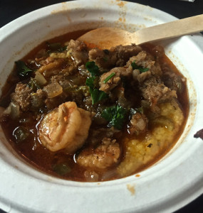 Alligator, shrimp and grits, down and dirty in New Orleans.